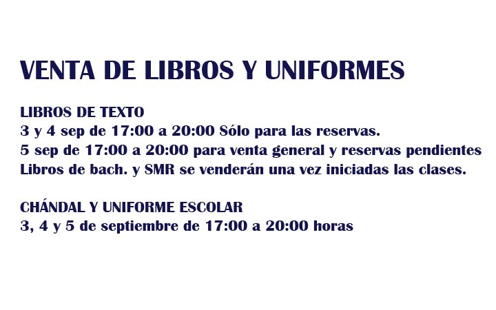 AVISO: VENTA DE LIBROS Y UNIFORME ESCOLAR