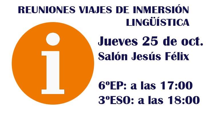 AVISO REUNIONES DE INMERSIÓN LINGÜÍSTICA