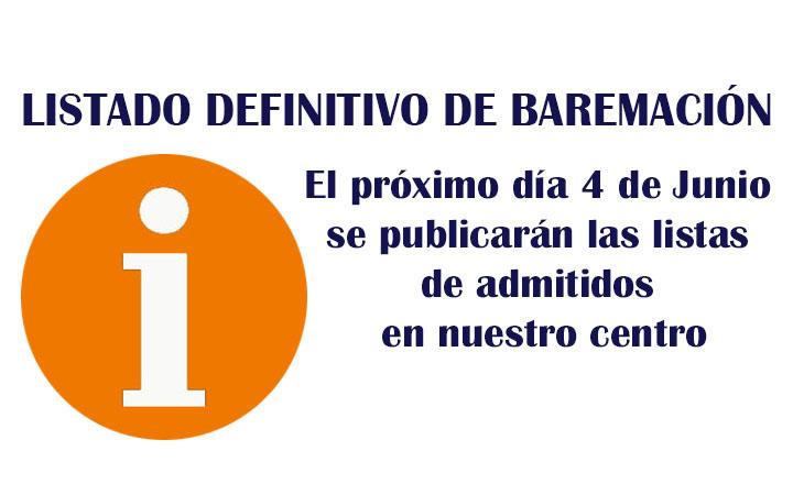 LISTADO DEFINITIVO DE BAREMACIÓN