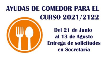 ABIERTA PRIMERA FASE DE LAS AYUDAS DE COMEDOR PARA EL CURSO 2021/2122